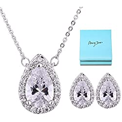 AMYJANE Wedding Jewelry Set for Bridesmaids - Sterling Silver Teardrop Cubic Zirconia Halo Earrings and Pendant Necklace Clear Crystal Jewelry Set for Women