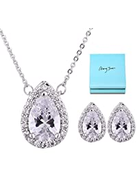 Bridal Jewelry Set for Women - Sterling Silver Teardrop...
