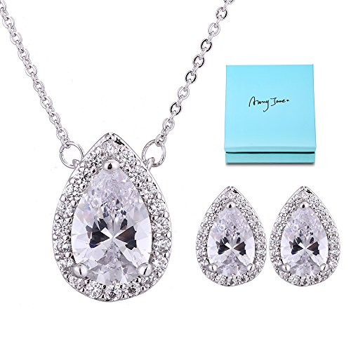 Clear Crystal Bridal Necklace - AMYJANE Wedding Jewelry Set for Bridesmaids - Sterling Silver Teardrop Cubic Zirconia Halo Earrings and Pendant Necklace Clear Crystal Jewelry Set for Women