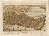 Historic Map | Bird's eye view of the city of Portland, Maine, 1876 | Antique Vintage Reproduction