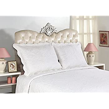 All For You 2-Piece Embroidered Quilted Pillow shams-standard size (White, off white)