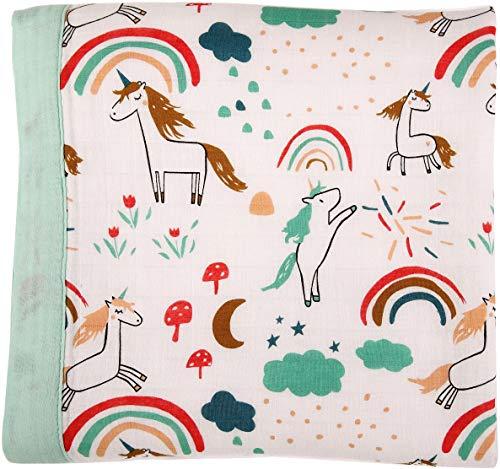 Unicorn Print Baby Blanket - Unisex Bamboo Toddler Blanket for Boys and Girls - Oversized 47