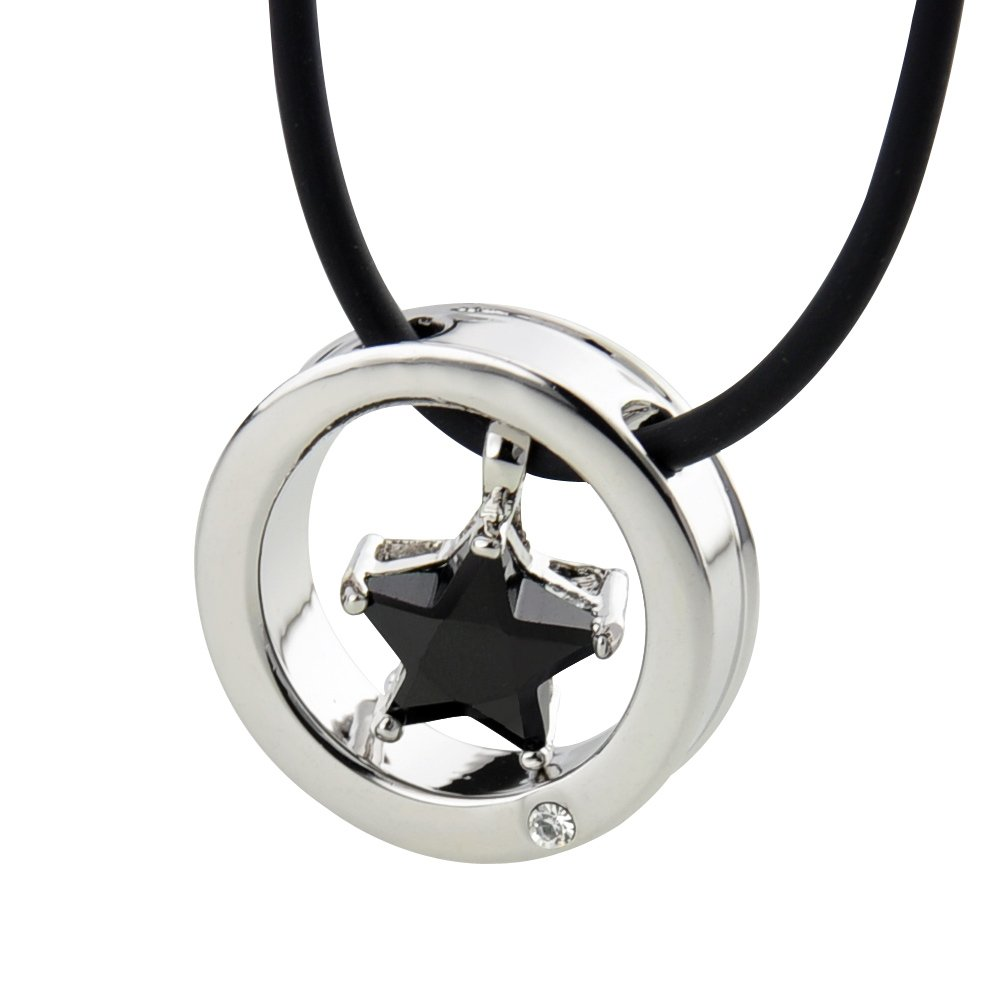 Ashley Jeweller Womens Stainless Steel Pendant Necklace Silver Tone Black Jewish Star Of David