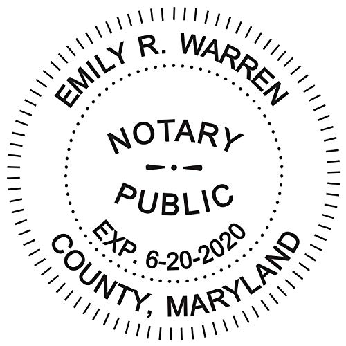 Round Notary Stamp for State of Maryland- Self Inking Stamp - Top Brand Unit with Bottom Locking Cover for Longer Lasting Stamp - 5 Year Warranty