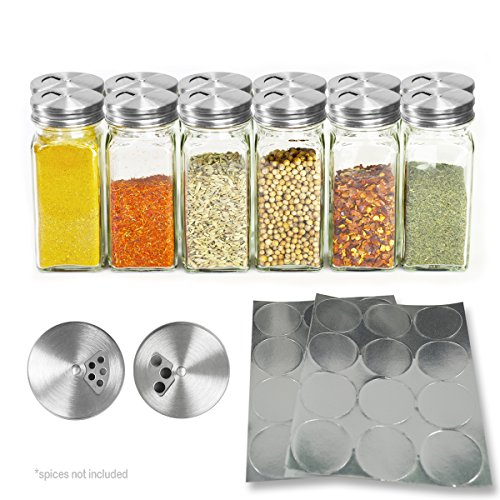 Clear Glass Spice Containers, 4 oz Spice Jars with Stainless Steel Dispenser Tops and 24 Labels - Case of 12 - Glass Jar Stainless Steel Top