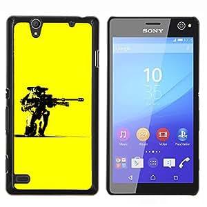 YiPhone /// Prima de resorte delgada de la cubierta del caso de Shell Armor - Amarillo Robot Pistola Arte Guerrero Futurismo Ai - Sony Xperia C4