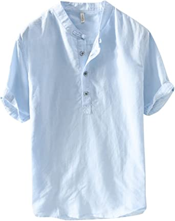 Camisa De Lino Hombre Suelta Casual Transpirable Top De Manga Corta Camisas Sin Cuello De Color Sólido Blusas De Trabajo Celeste 4XL: Amazon.es: Ropa y accesorios