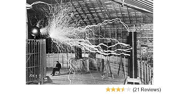 Electricity Double-Exposure Nikola Tesla Reading in Laboratory New 8x10 Photo