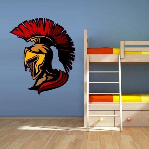 (Color Wall Decal Mural Sticker Warrior Head Helmet Sparta Knight Sword Shield Kids Nursery Playing Room (Col43))