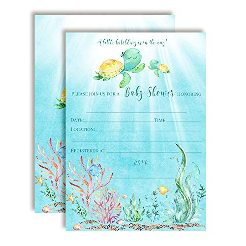 Little Hatchling Cute Sea Turtle Sea Life-Themed Baby Sprinkle Shower Invitations, 20 5