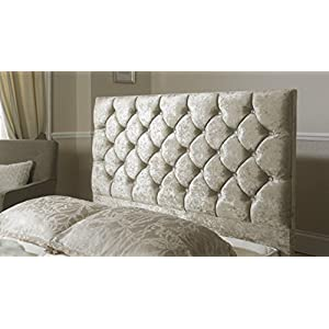 mm08enn Crushed Velvet Diamond/Diamante ATN Headboard in 24″ Height (4FT6 DOUBLE, CREAM)