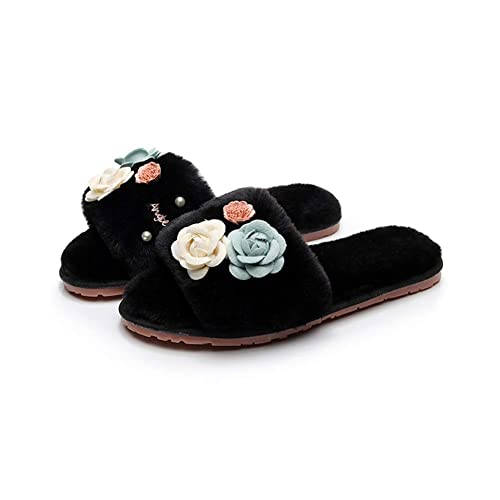 eae4f82119d T-JULY Women s Handmade Flower Decoration Sandals Furry Slippers Shoes Soft Fur  Pearl Flip Flop