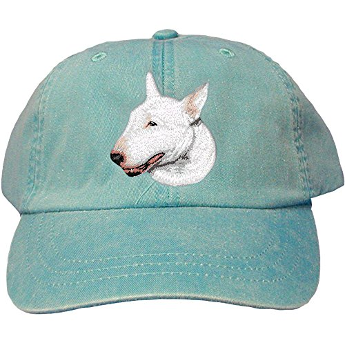 Cherrybrook Dog Breed Embroidered Adams Cotton Twill Caps - Caribbean Blue - Bull Terrier (Terrier Embroidered Cap)