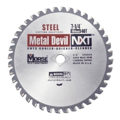 MK Morse CSM72540NSC  Metal Devil NXT Circular Saw Blade, 7-1/4-Inch Diameter, 40 Teeth, 5/8-Inch Knock-out Arbor, for Steel Cutting ()