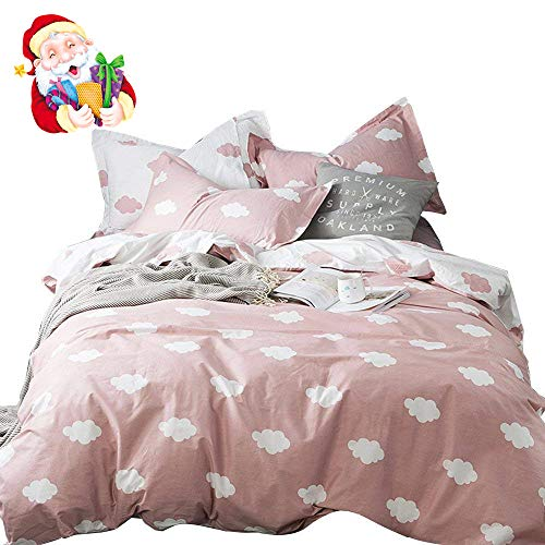 BuLuTu Cloud Print Kids Duvet Cover Twin Pink White Cotton for Girls,Stylish Super Soft Premium Cute Modern Reversible Pink Teen Bedding Sets Twin Comforter Cover with Zipper Closure,No Comforter Black Friday & Cyber Monday 2018