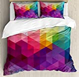Colorful King Size Comforter Sets Ambesonne Rainbow Duvet Cover Set King Size, Colorful Abstract Geometric Pattern with Triangles Polygon and Other Shapes Rainbow, Decorative 3 Piece Bedding Set with 2 Pillow Shams, Multicolor