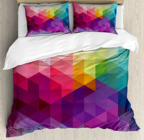 Ambesonne Rainbow Duvet Cover Set, Colorful Abstract Geometric Pattern with Triangles Polygon and Other Shapes Rainbow, Decorative 3 Piece Bedding Set with 2 Pillow Shams, Queen Size, Pink Magenta