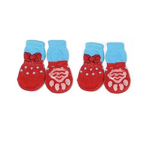 Feidaeu Calcetines para Perros Calzado 1 Set / 4 unids Lindo Cachorro Antideslizante Knit Perros pequeños