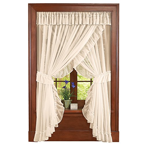 Antique Cream Collection - Collections Etc Isabella Ruffled Sheer Fabric Rod Pocket Window Curtain Set, Cream