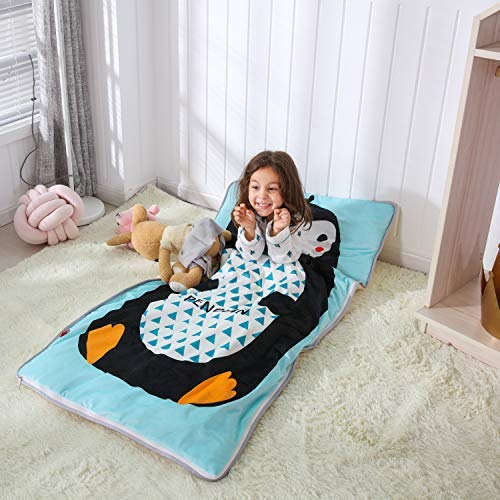 PomCo Cotton Baby Sleeping Bag Toddler Winter Cartoon Slumber Bag Kids Bedding Set Sleep Sack Bag Includes Pillow Core for Indoor and Travel(Cute Penguin)