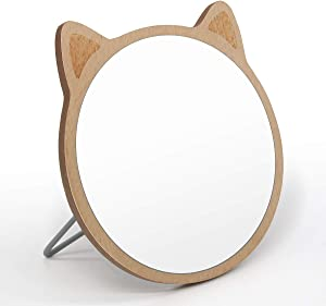 MGLIMZ Tabletop Makeup Mirror,Portable Desktop Wood Frame Vanity Mirror,Travel Folding Handheld Mirror