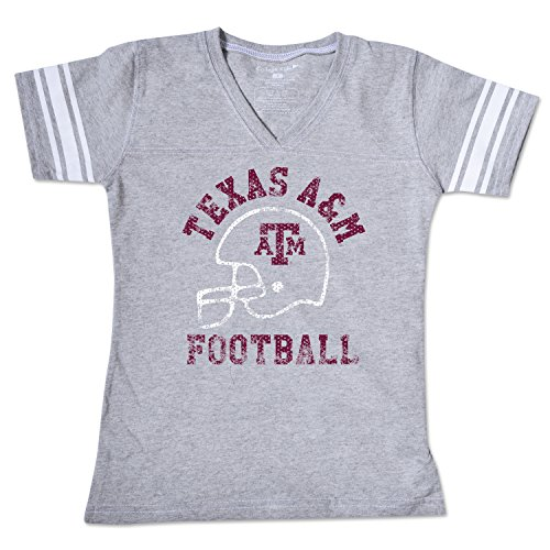 College Kids NCAA Texas A&M Aggies Girls V Neck Short Sleeve Football Tee, Size 7/X-Small, Varsity Oxford