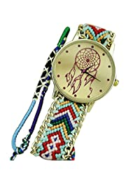 Franterd Women Braid Dreamcatcher Friendship Bracelet Dress Watches