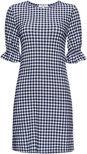 FIND Vestido Corto con Estampado de Cuadros Vichy para Mujer Azul (Navy Mix)