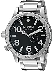 Nixon Mens A057-000 Stainless-Steel Analog Black Dial Watch