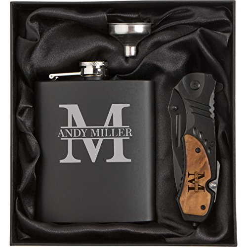 Initial Engraved 7 oz Stainless Steel Flask Funnel Rescue Knife Gift Box Set Custom Personalized ()