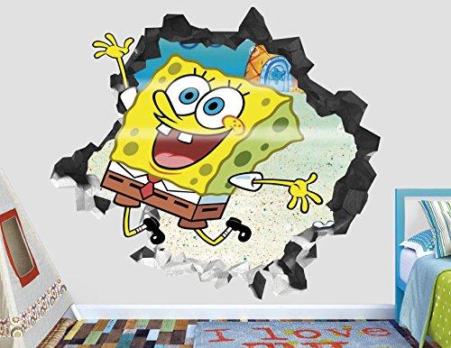 Sponge Bob Happy Wall Decal Smashed 3D Sticker Vinyl Decor Mural Kids - Broken Wall - 3D Designs - AH132 (Medium (Wide 30