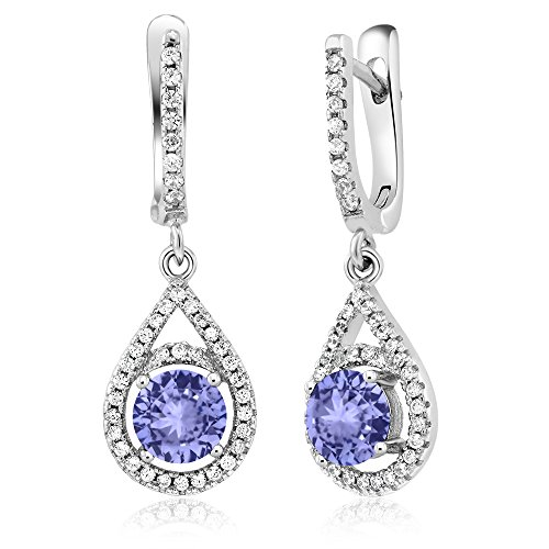 Sterling Silver Round Blue Tanzanite Dangle Teardrop Earrings (2.10 cttw) (Dangling Earrings Tanzanite)