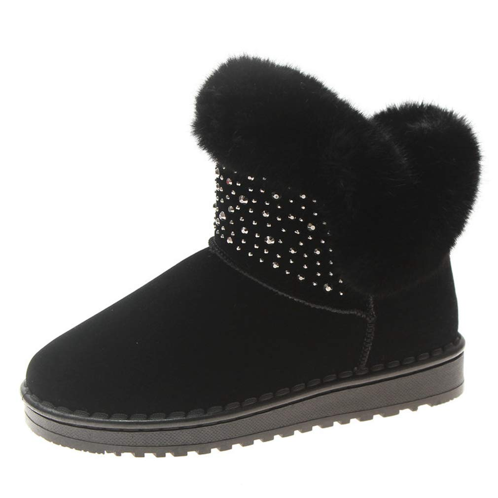 Black T-JULY Snow Boots Crystal Short Ankle Boots Women Fluffy Fur Plush Warm Winter Boots Ladies Flat shoes