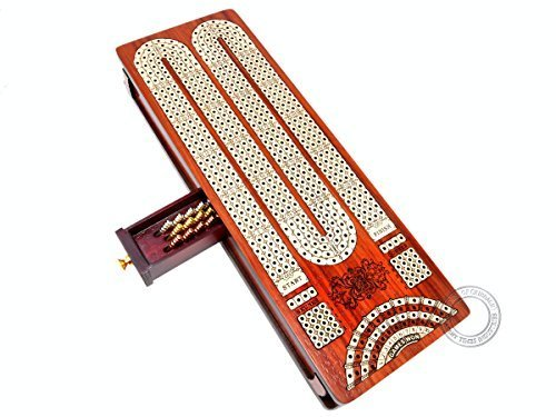 House of Cribbage - Continuous Cribbage Board / Box inlaid in Bloodwood / Maple : 4 Track - Sliding Lid with Score marking fields for Skunks, Corners and Won Games ()