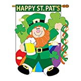 Two Group – Happy St. Pat's Spring – Seasonal St Patrick Applique Decorative Vertical House Flag 28″ x 44″ Review