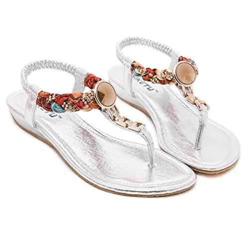 DQQ Damen Exotic Strass flach Sandale, Weiß - weiß - Größe: 37.5