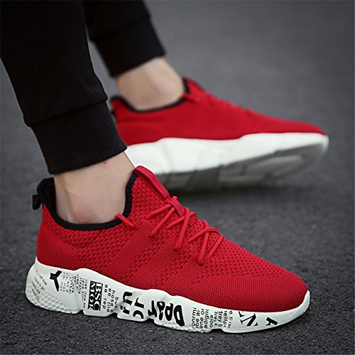 Lightweight Walking Shoes A Fashion White Fall HUAN Casual Academy Shoes Black Comfort Knit Running Shoes Gray Red Sneakers for Spring Men's 4nRqABWw7