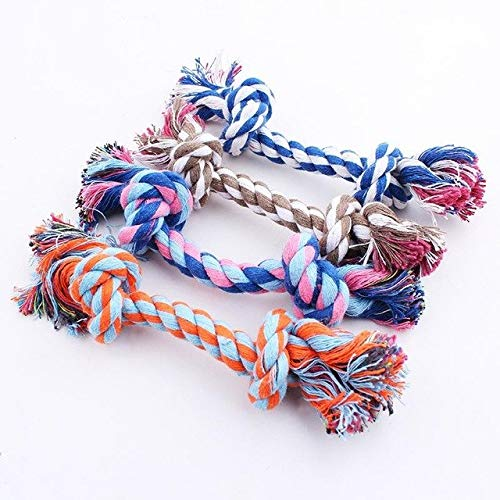 XuBa Multicolor Pet Cotton Knotted Rope Bone Tug Dog Chewing Toy Big Chew Knot Fashion Toy None XS ()