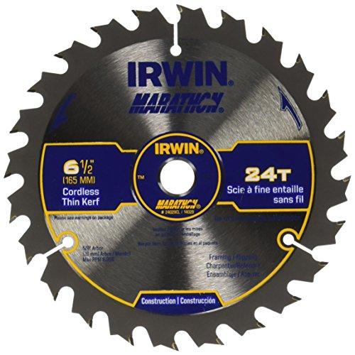 IRWIN Tools MARATHON Carbide Cordless Circular Saw Blade, 6 1/2-Inch, 24T, .063-inch Kerf (24029CL)