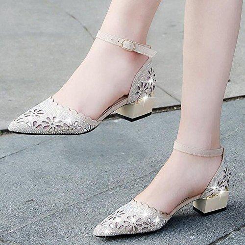 Sandalias imitación para de huecos Zapatos de tacón tacón negro de Beige grueso diamantes cómodos GAOLIXIA mujer Zapatos de Beige alto nC7R8qwxt