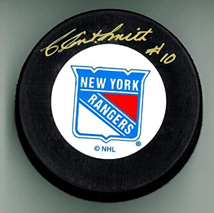 Clint Smith Autographed New York Rangers Hockey Puck Gold Autograph