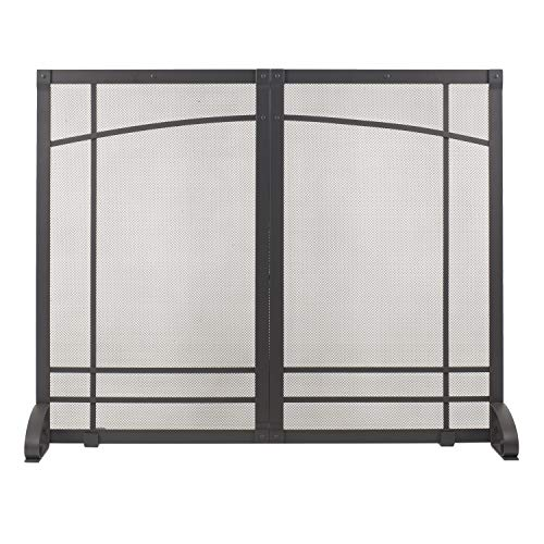 Pleasant Hearth Amherst Fireplace Screen, Iron Black