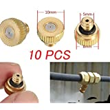 """Gesentur Brass Misting Nozzles For Home Garden Outdoor Cooling System,0.012"""" Orifice (0.3 mm) 10/24 Thread (10pcs)"""