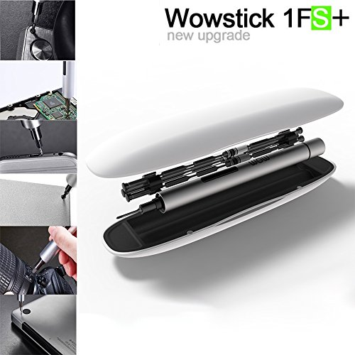 Elecguru Wowstick 1FS+ Mini Electric Precision Cordless Electric Power Screwdriver LED Light Engraver 1/8 Inch Chuck - 100RPM, 1/8 Inch Hex, 18 Different Heads, Carry Case[2017 New Version]