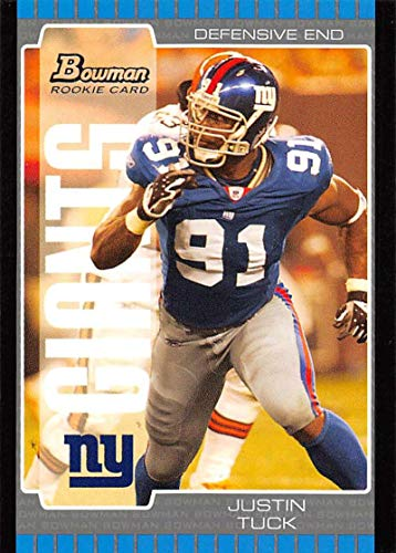 (2005 Bowman Football #205 Justin Tuck RC Rookie Card New York Giants Official NFL Trading Card From Topps )