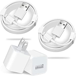iPhone Charger, Apple MFi Certified Lightning Cable,USB Wall Charger Compatible with iPhone Xs XR X 8 7 7 Plus 6s 6 Plus SE 5s, iPad Mini Air Pro, iPod, AirPods [2-Pack]