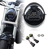 LED Protector Vrod headlight Fit for Harley VRSC VRSCA VRSCAW VRSCB VRSCF VRSCSE VRSCSE2 VRSCR VRSCX VRXSE V-Rod V-Rod Muscle Screamin Eagle CVO V-Rod Street Rod(Black)