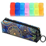 LIZIMANDU Weekly Pill Organizer, Twice-a-Day, AM/PM Push Button Pill Planner (XL) Includes Pill Box Storage bag(Blue_Flower)