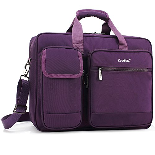 CoolBELL 17.3 Inch Laptop Briefcase Protective Messenger Bag Nylon Shoulder Bag Multi-Functional Hand Bag for Laptop/Ultrabook/Tablet/MacBook/Dell/HP/Men/Women/Business (Purple)