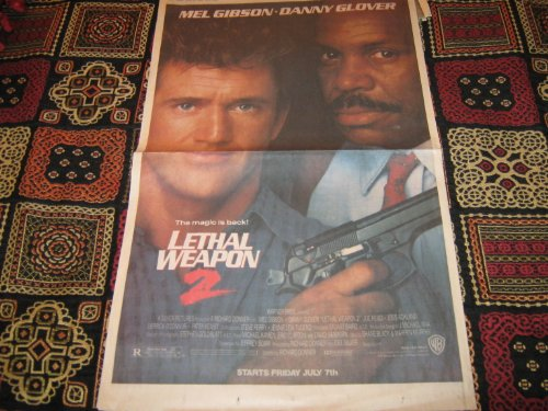 Newspaper Posters 1989 & 1990 (Bird on a Wire , Lethal Weapon 2 , Mel Gibson , Danny Glover , Goldie Hawn, 6/30/89 , 4/29/90 & 5/13/90)